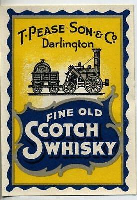 Original Fine Old Scotch Whisky Label - T Pease Son & Co Darlington