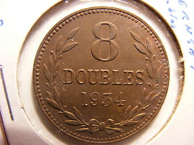 Guernsey 8 Doubles, 1934-H, Toned Uncirculated with some luster