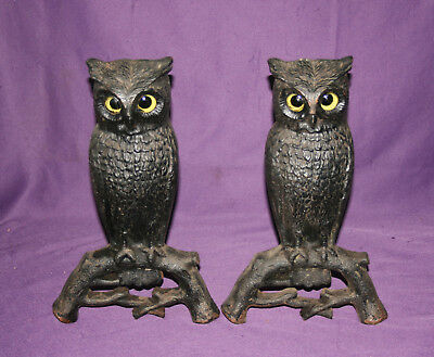 Antique Owl Andirons Cast Iron Glass Eyes