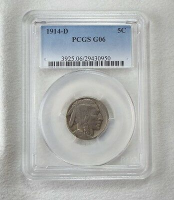 1914-D Buffalo Nickel CERTIFIED PCGS G 06 5-Cents