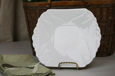 """Shelley Dainty White Cake Plate Square Handles Vintage 9.75"""""""