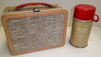 Vintage Metal Lunch Box With Thermos Brown Luggage Selling Collection No Reserve