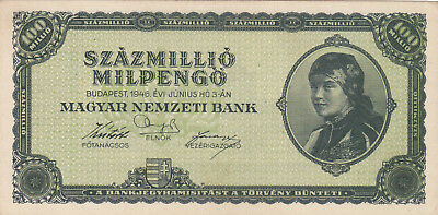100 Million  Milpengo From  Hungary 1946 Aunc Crispy Banknote!pick-130