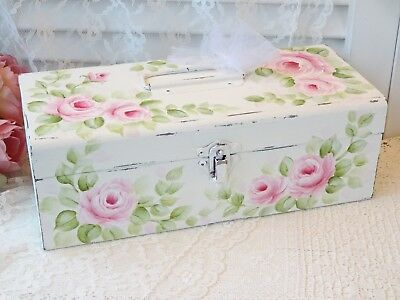 MOST ROMANTIC ROSE BOX daSommers hp hand painted chic shabby vintage cottage art