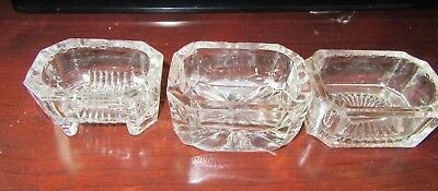 Antique Lot 3 Large  Glass Open Salt Cellar Dips    1 is Footed