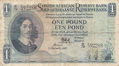 1 Pound Vg Banknote From British South Africa 1951!pick-93