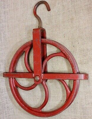 "old well pulley LARGE 10 3/4"" wheel heavy duty iron vintage rustic industrial"