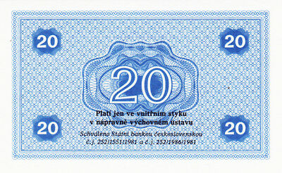 20 Korun Unc Prison Currency From Czechoslovakia 1981!state Bank Issued
