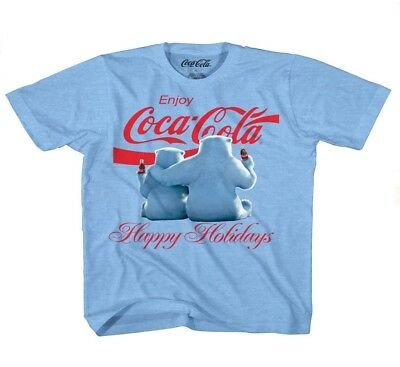 Licensed Coca-Cola Polar Bears Happy Holidays Get Cozy Adult Mens L T-Shirt Bnwt