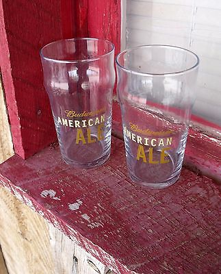 2 NEW Old Stock BUDWEISER American Ale 16oz English Style Pub Beer Pint Glasses
