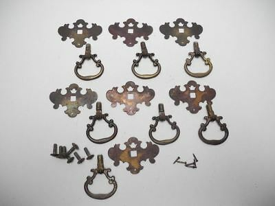 """Set of 7 Antique Drop Down Pulls with 2.3"""" X 1.65"""" Victorian Backplate"""