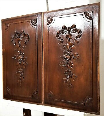 Pair Hand Carved Wood Panel Antique French Bow Flower Rose Salvaged Panelling