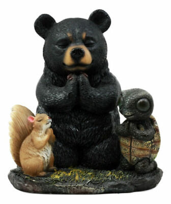 Praying In One Accord Black Bear Squirrel And Turtle Figurine Forest Friends