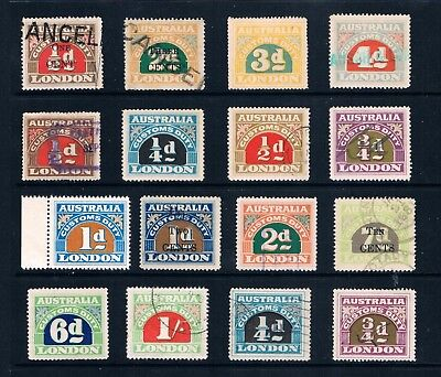 Australia Commonwealth Revenues, a Selection of  London Customs Duty Stamps