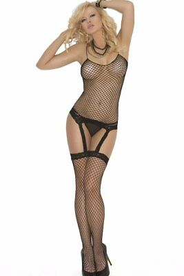 Fence Net Camisette Cami Set Thigh Highs HI Stockings G-String Fishnet Lace