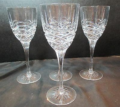 Crystal 4 Water Goblets Cut Curved Lines Possible Cristal D'Arques Sorrento