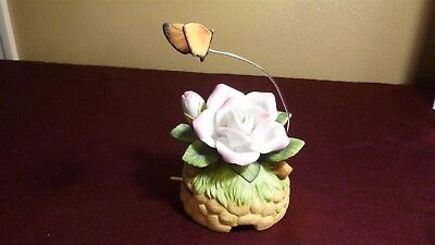 Vintage Porcelain Pink ROSE w BUTTERFLY - Music Box  by Lefton - EUC