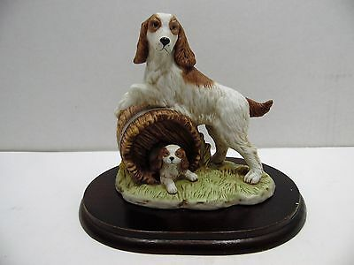 Springer Spaniel Family Figurine Home Interiors 1448 with Wood Display Plaque