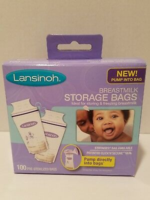 Lansinoh Breastmilk Storage Bags 100 Count BPA BPS Free Fits on Pump Sealed NEW