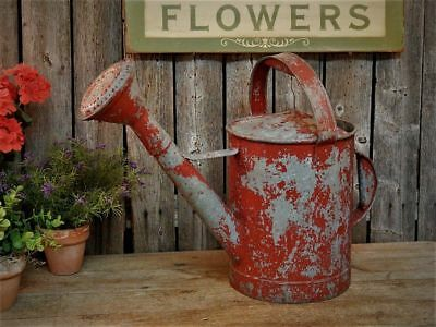 Old RED Vintage Galvanized Metal Watering Can Farmhouse Flower Garden Tool