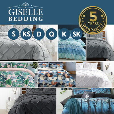 Giselle Bedding Pinch Pleat Diamond Duvet Doona Quilt Cover Set All Size Grey