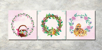 "16x16"" 3Parts Home Wall Decor Easter wreath Art Printed Painting on Canvas 1512"