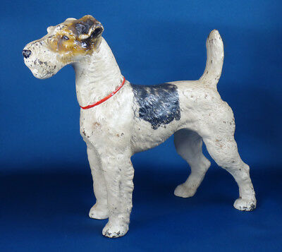 antique HUBLEY DOG 381 cast iron DOOR STOP large painted metal WIRE FOX TERRIER