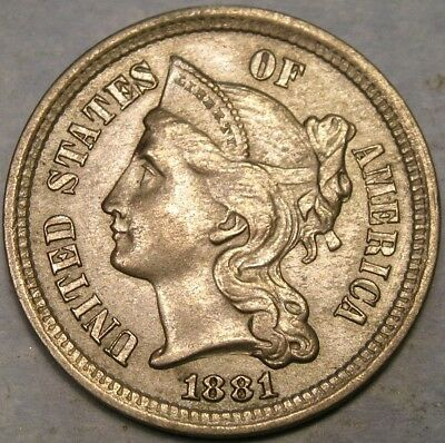 1881 Three Cent Nickel Re Punched Date Appealing Beautiful Scarce Vp-001 Rpd-003