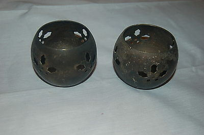 Antique Pair Of Candle Holders Candlestick Ornate Design Small Copper/pewter
