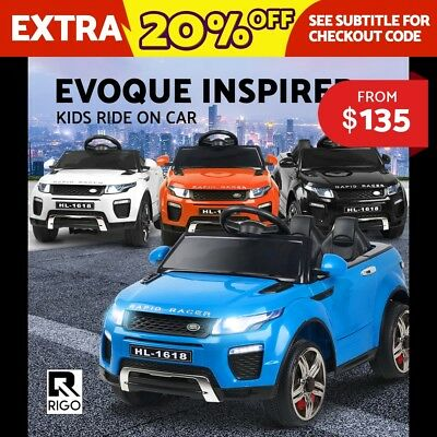 RIGO Kids Ride-On Car RANGE ROVER EVOQUE Inspired Electric Toy Black Blue White