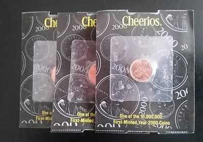 3 - 2000 P Lincoln Cents  Cheerios Penny  Millennium Promo Lot of Three Coins
