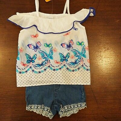 NWT Gymboree Girls Butterfly Garden Top/Lace Trim Shorts Size 4T 5T Outfit