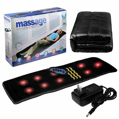 Remote Control Body Massage Mat Heated Back Pad Chair Cushion Mattress Relief