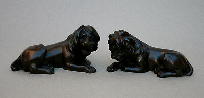 Pair Antique Bronze Lions Regency Period
