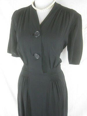 Vtg 40s 50s Black Womens Vintage SHEER Cocktail Party Dress W 32