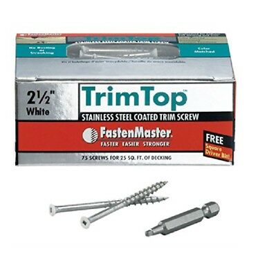 "Omg FMTT212-75WH Trimtop White Coated Trim Screw, 8"" x 2-1/2"", 75 Count"