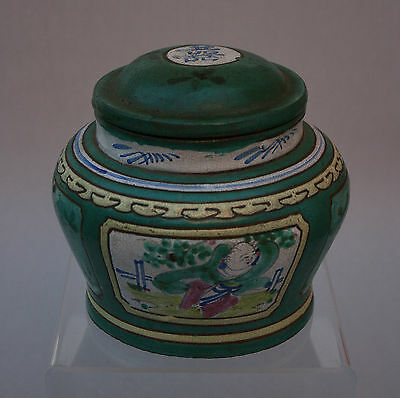 Antique Chinese Enamelled Yixing Tea Jar Caddy  - French Flea Market Find
