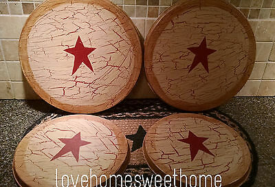 Primitive Crackle Tan & Barn Red Star Metal Stove Burner Covers Country Decor
