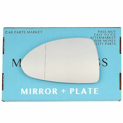 For Vauxhall Corsa D 06-14 Left passenger Aspheric wing mirror glass with plate