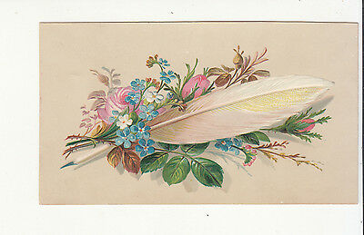 White Feather Pink & Blue Flowers No Advertising Vict Card c1880s