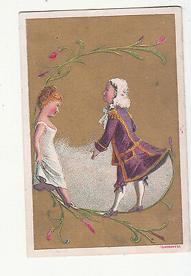 Colonial Couple White Wig Dress Flowers No Advertising Vict Card c1880s