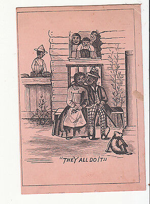 They All Do It Black Americana Couple Kiss House No Advertising Vict Card c1880s
