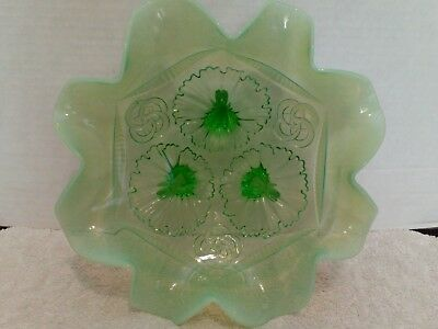 Northwood Glass Green Fluted Wreath & Shells Footed Bowl c. 1907