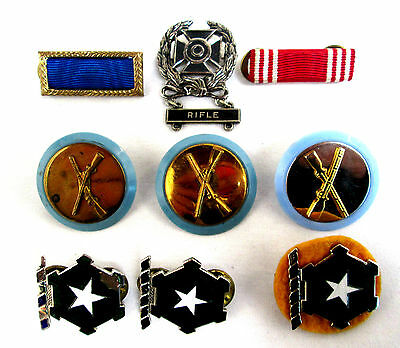 "Vintage Mixed Lot of 9 Military Medals & Bars Medal Star Rifle Red Blue 1"" diam"