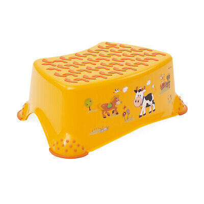 Tritthocker Trittschemel OKT Kids Trittbank rutschfest Funny Farm Hocker orange
