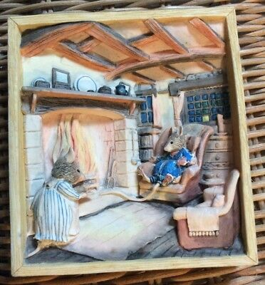 BORDER FINE ARTS SUPPER BY THE FIRE BRAMBLY HEDGE WALL PLAQUE 1980's @@RESTORED