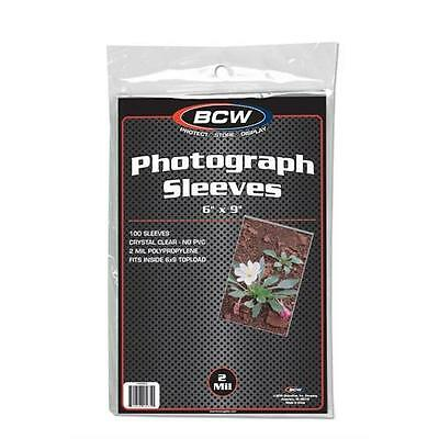 """1 pack of 100 BCW Photograph Poly Sleeves 6 x 9"""" Photos Cards Postcards 2 mil"""