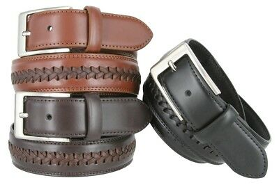 "Men's Woven Laced Braided Genuine Leather Casual Jean Dress Belt 1-3/8"" Wide"