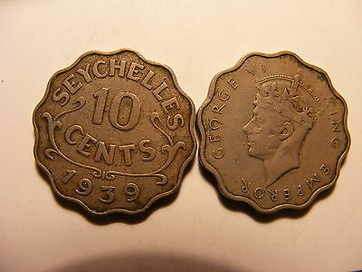 Seychelles 10 Cents, 1939, Circulated VG or Better, Minatge just 36K