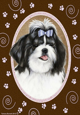 Large Indoor/Outdoor Paws Flag - Black & White Shih Tzu 17011